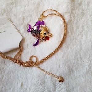 Necklace enamel and crystal embellished gold fish
